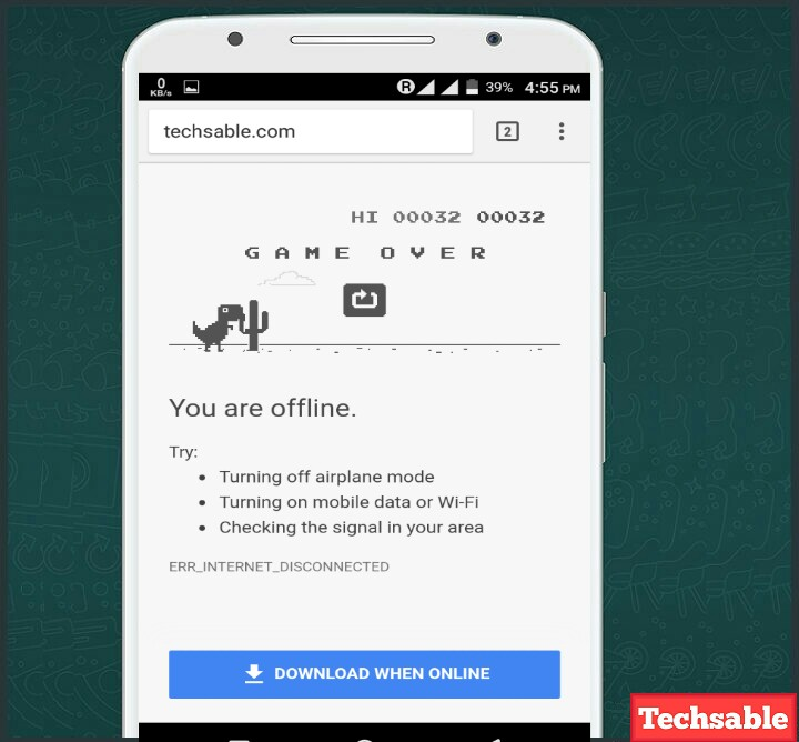 Techsable.com- How to Play Google Chrome Browser Offline Game