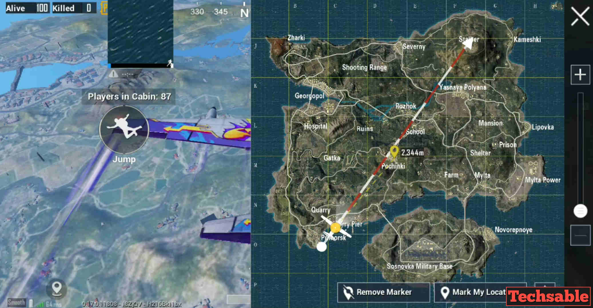 mark the landing location