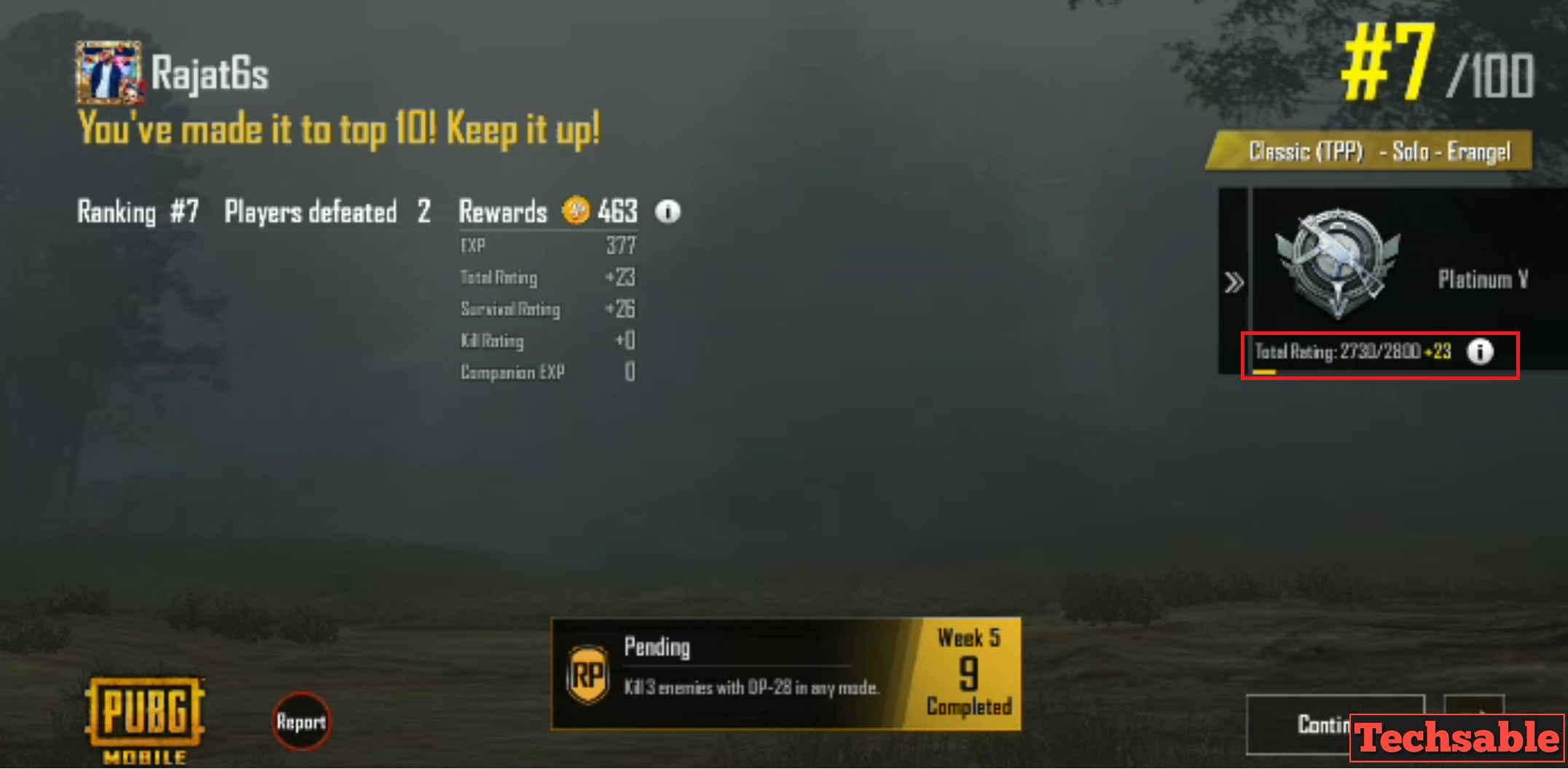pubg mobile rank up points