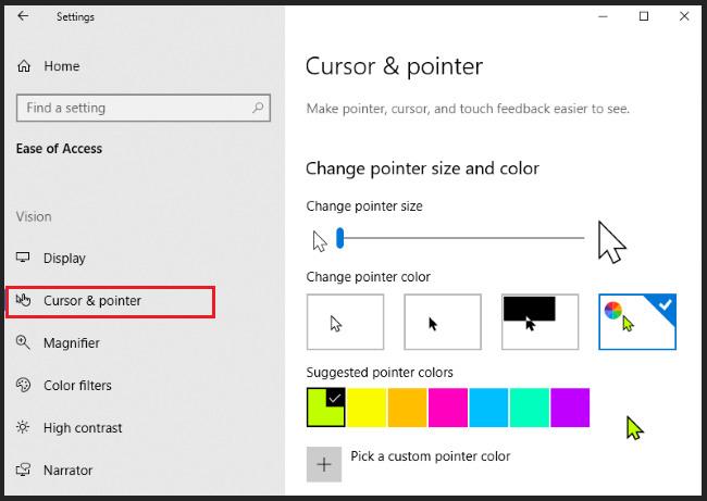 custom cursor windows 10