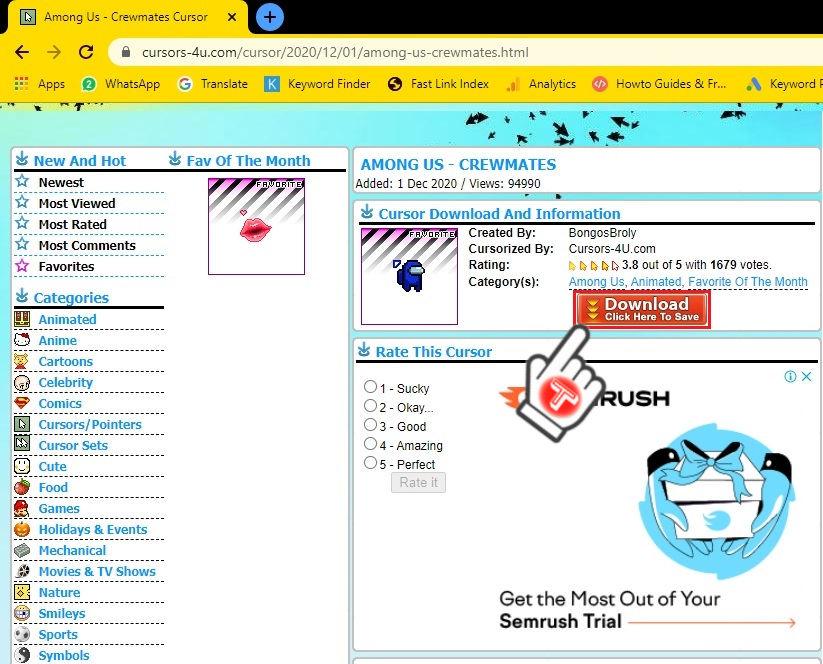 download mouse pointer cursor-4u website