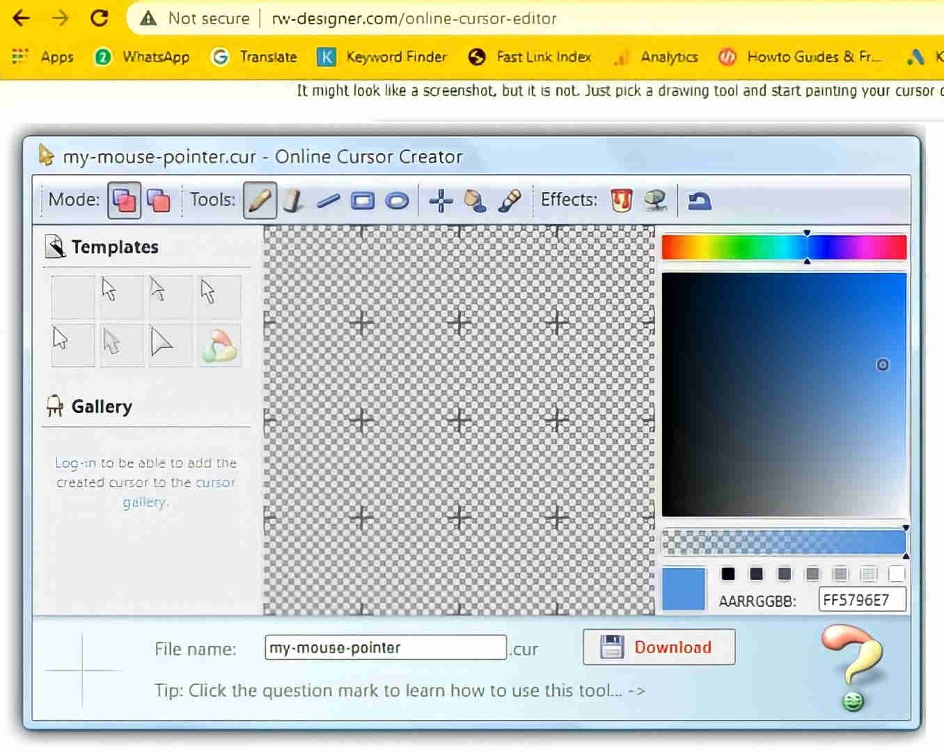 how to create custom cursor