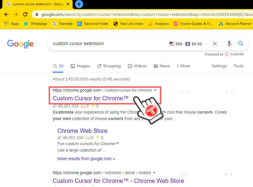 custom cursor chrome extension