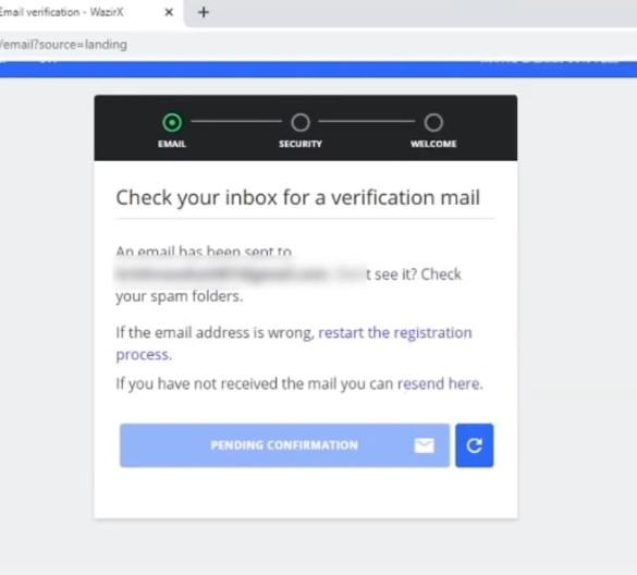 wazirx email verification